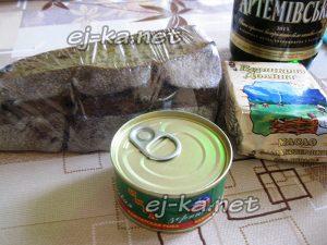 Ингредиенты для бутербродов с икрой