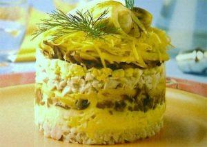 Салат с ананасами и грибами