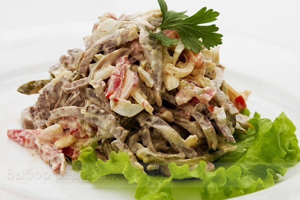 Фото рецепт салата с говяжьим языком