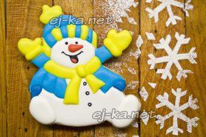 """Новогодние пряники """"Снеговик"""" в домашних условиях"""
