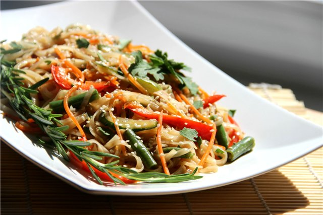 Салат с курицей и фунчозой рецепт с с овощами