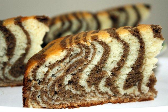 зебра пирог рецепт с фото пошагово