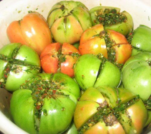 как солить зеленые помидоры на зиму фаршированные