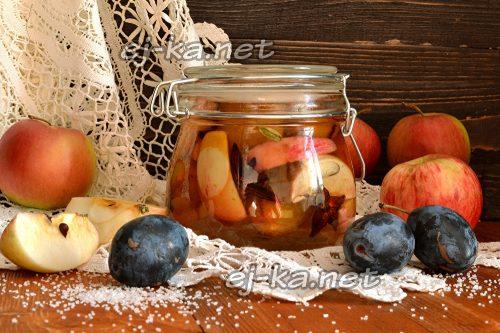 Как приготовить компот из слив с яблоками и бадьяном на зиму