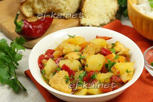 Рагу из овощей с курицей, рецепт с фото
