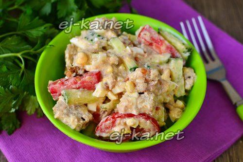 Салат с тунцом и овощами, рецепт с фото