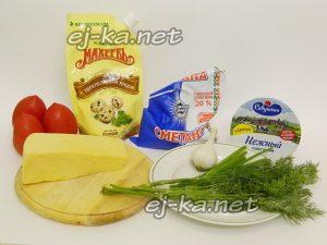 Ингредиенты для закуски в виде букета тюльпанов