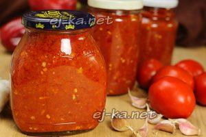 Вареная аджика из помидор, перца и чеснока на зиму