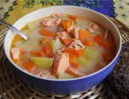 Овощной суп с лососем