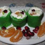 Яркие сладкие роллы с фруктово-творожной начинкой