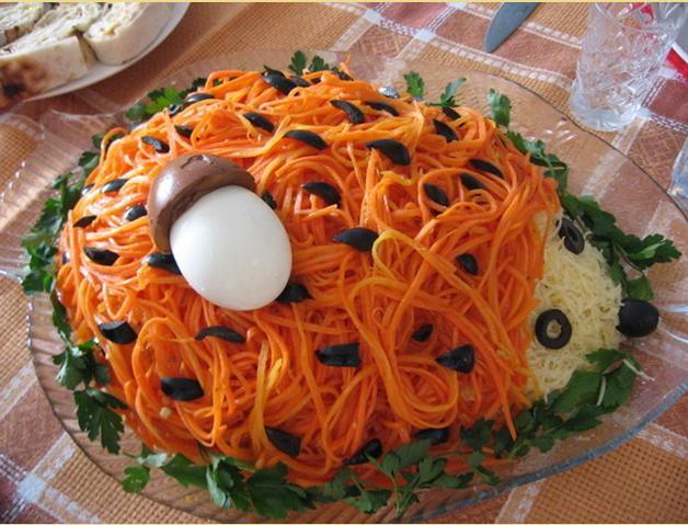 салат ежик с корейской морковкой рецепт с фото