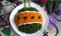 Украшение салата на новый год