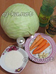 Ингредиенты для быстрой маринованной капусты с чесноком