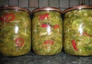салаты с зелеными томатами на зиму