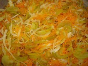 салат без стерилизации из зеленых помидоров