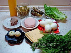 ингредиенты для салата Рождественский венок