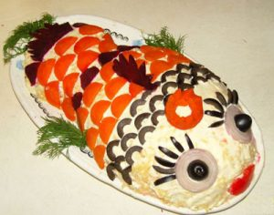 селедка под шубой в виде рыбки