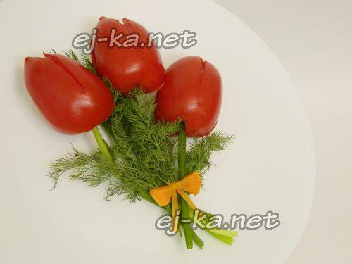 """Закуска из помидоров """"Букет тюльпанов"""""""