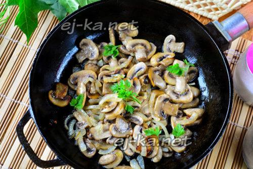 грибы на сковороде готовы