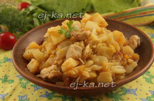 Сытный ужин из капусты и мяса