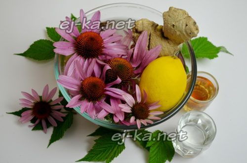 моют цветы, ополаскивают от пыли лимон и имбирный корень