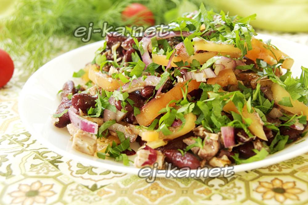 салат с красной фасолью и говядиной