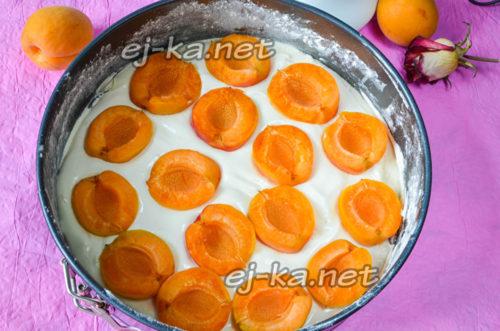 на дно формы для выпекания выстелить пергамент и залить половину воздушного бисквитного теста и выложить поверх дольки абрикосов