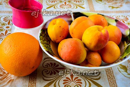 абрикосы, апельсин и сахар