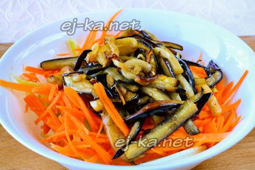 соединить овощи и баклажаны