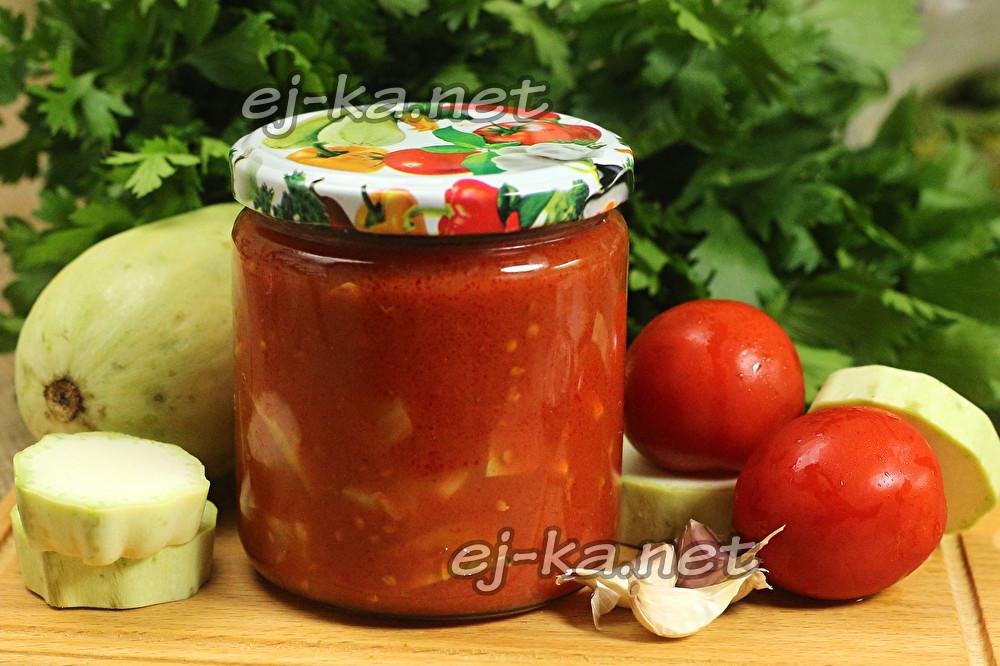 Кусочки кабачков в томатном соусе