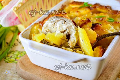 Рыба с картошкой запеченные