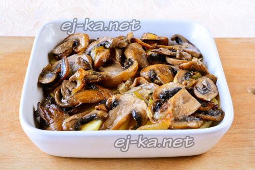 слой грибов с луком