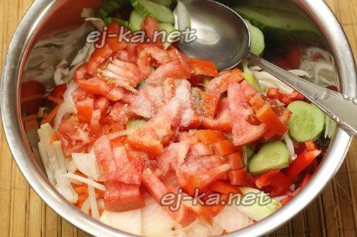 добавление помидор и соли