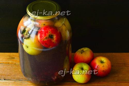 яблочно-виноградный компот на зиму