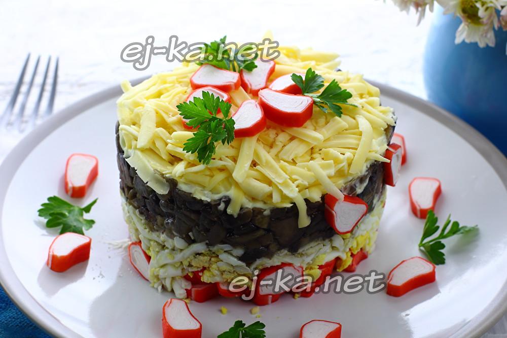 Вкусный крабовый салат