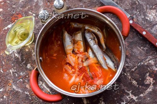 тушить рыбу с овощами и томатной пастой