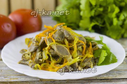 салат из куриных желудков по-корейски