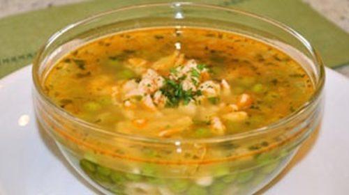 Суп с галушками и зеленым горохом