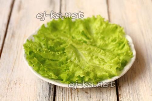 промыть листья салата