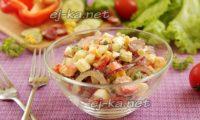 салат радуга с охотничьими колбасками