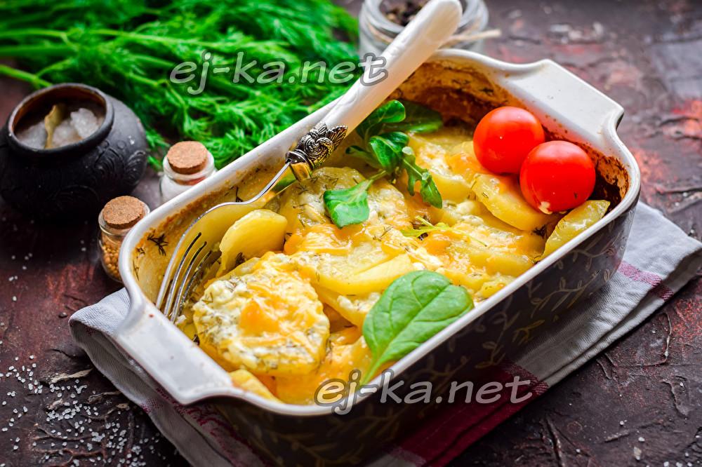 картофель с сыром, майонезом и чесноком