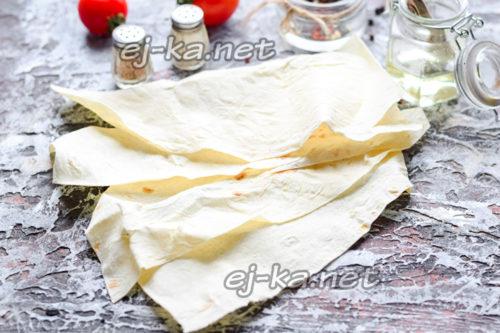 нарезать лаваш пластами