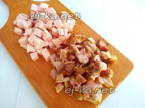 нарезать колбасу и шашлык