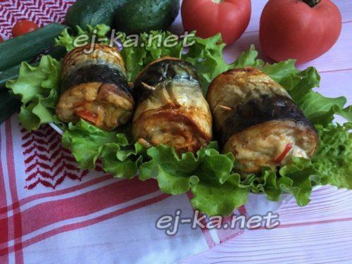 рулетики из скумбрии с овощами готовы