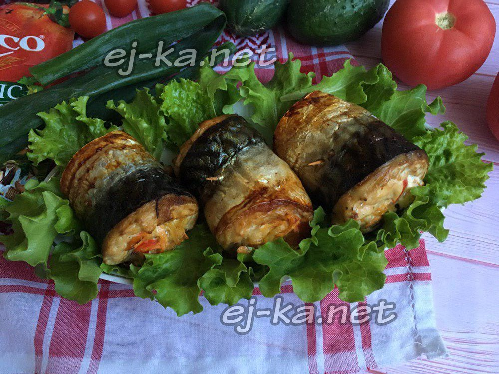 рулетики из скумбрии с овощами