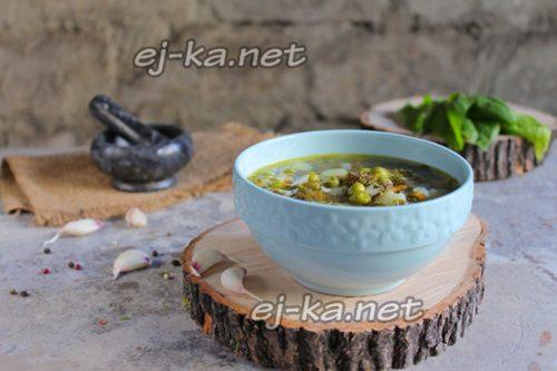 суп из щавеля с зеленым горошком
