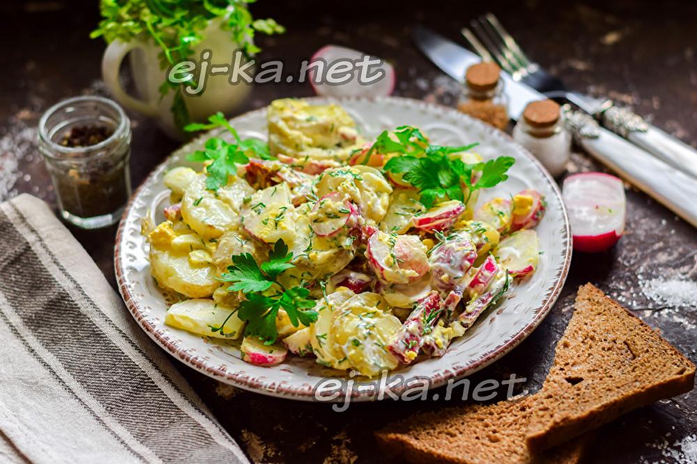 салат из картофеля и редиски