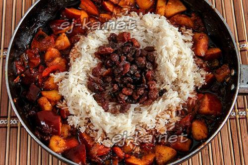 добавить рис и изюм