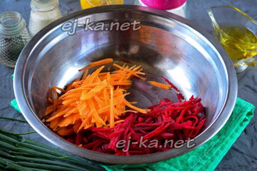 тертая свекла и морковь