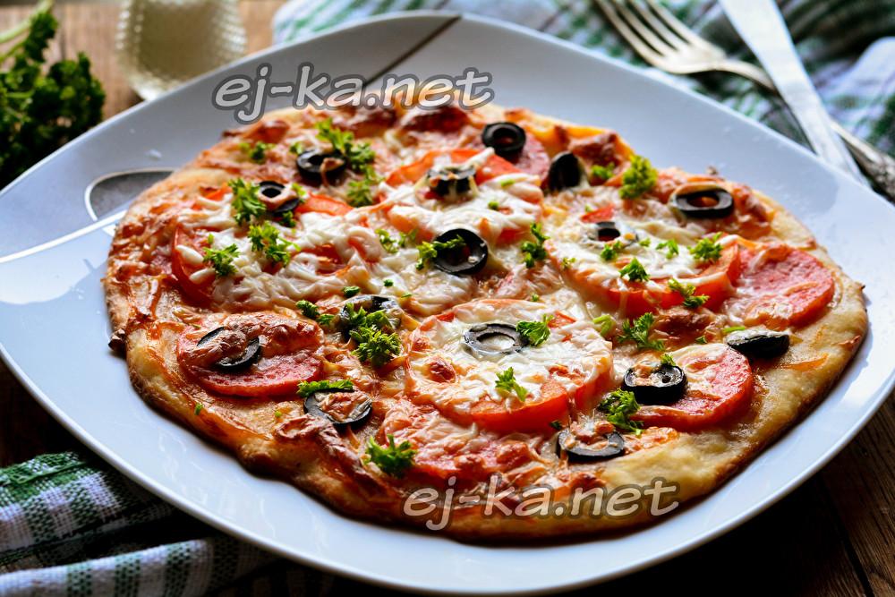 Пицца из остатков пельменного теста